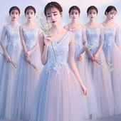 伴娘服2019新款 闺蜜姐妹团礼服婚礼显瘦晚礼服女 灰色修身 夏季长款