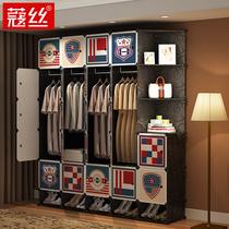 简易布衣柜钢管加粗加固组装钢架双人布艺收纳衣橱经济型简约现代