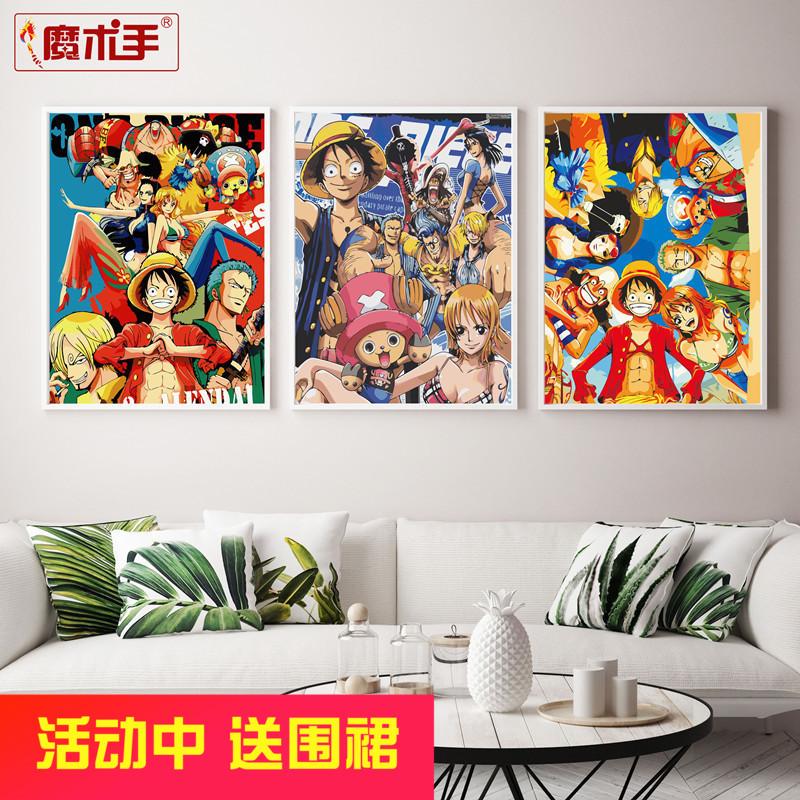 油彩画卧室装饰海贼王手绘大幅油画卡通