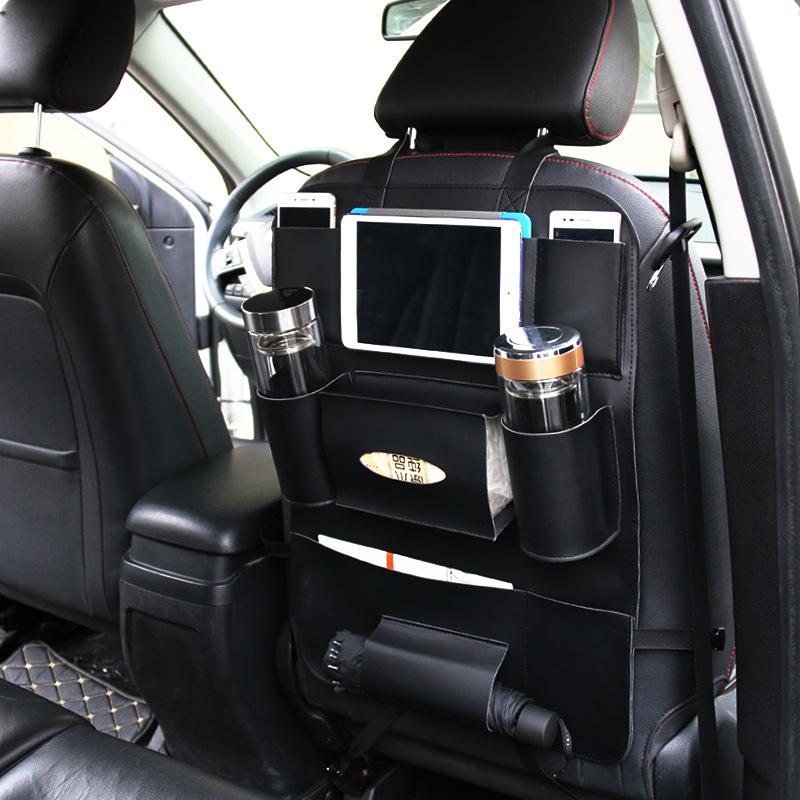 新品汽车收纳袋车用座椅挂袋置物袋pu椅背袋热卖车载内装饰用品袋