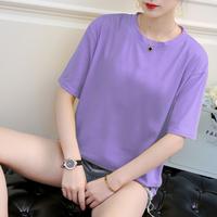胖mm夏装新款大码宽松短袖t恤女装200斤紫色ins超火上衣半袖体恤