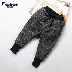 男童棉裤格子