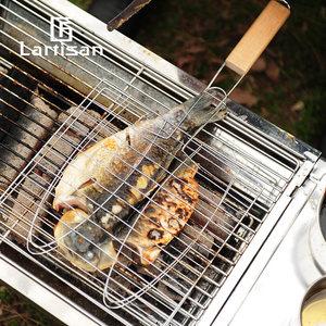 lartisan户外烧烤工具用品配件带把手烤鱼夹子烤鱼网烤汉堡烧烤网