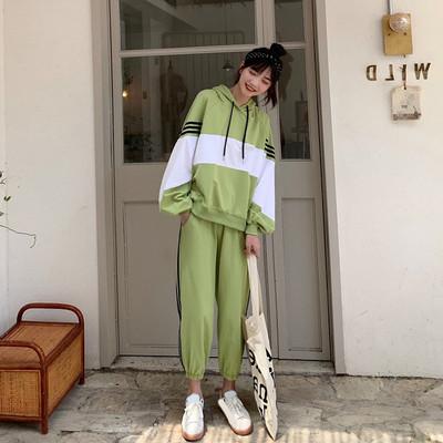 小清新时尚休闲套装女学生2019春秋新款韩版闺蜜长袖两件套秋装潮