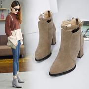 短靴子女2018新款秋季韩版高跟鞋百搭女鞋秋季裸靴马丁靴粗跟女靴