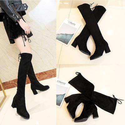 靴子女新款尖头高跟过膝长靴粗跟长筒靴显瘦女士弹力靴高筒骑士靴