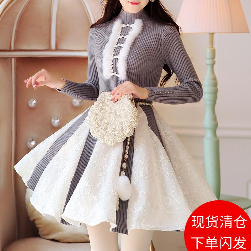 陛下兰他惜冬装新款原创复古中国风蕾丝拼接蓬蓬加厚针织连衣裙女