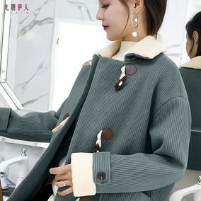 牛角扣大衣女宽松呢子加厚冬韩国学生中长款学院风羊角扣毛呢外套