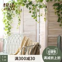 掬涵 实木百叶屏风 装饰隔断 复古做旧 三扇折叠 美式欧式日式