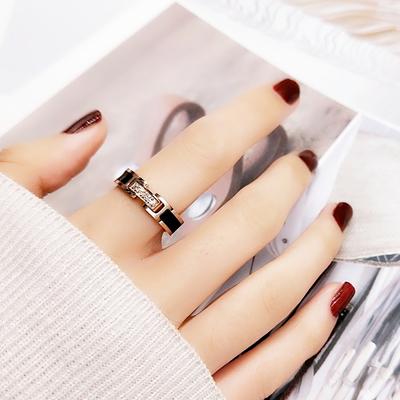 欧美风网红个性日韩国黑色微钻戒指女款食指环戒子潮人钛钢装饰品