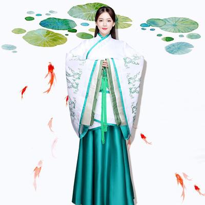 小训狐新款改良汉服女古装古筝舞蹈演出服仙女服曲裾襦裙戏曲服