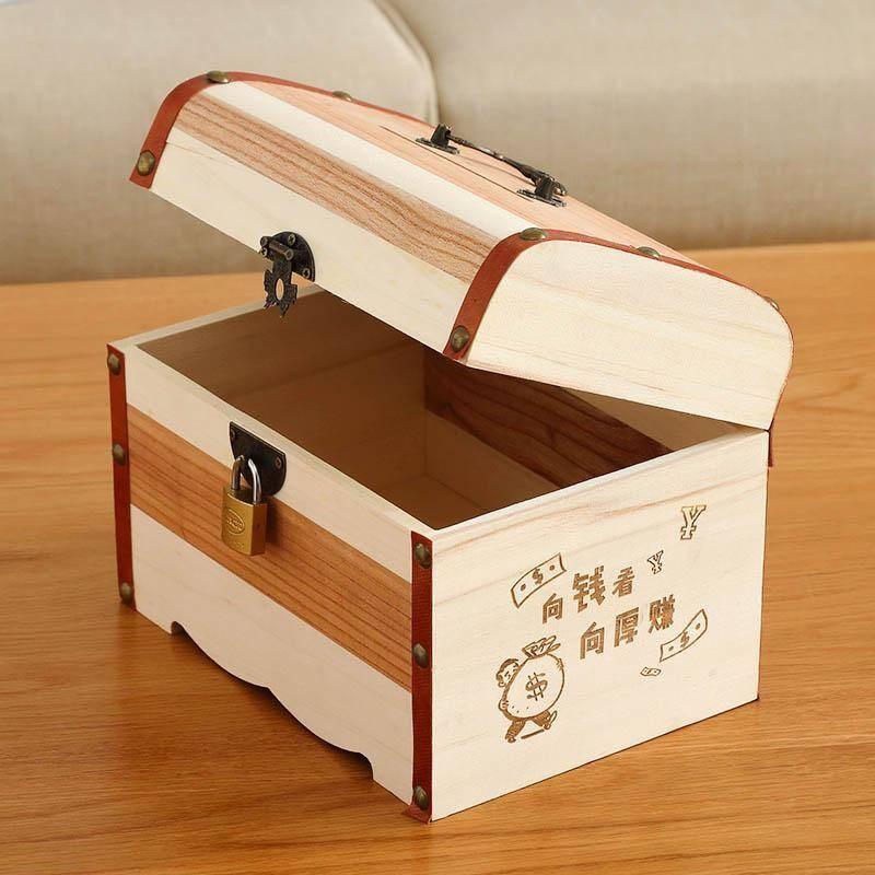 带锁收纳盒木盒子小木箱子证件首饰化妆品桌面木质密码储物盒家用