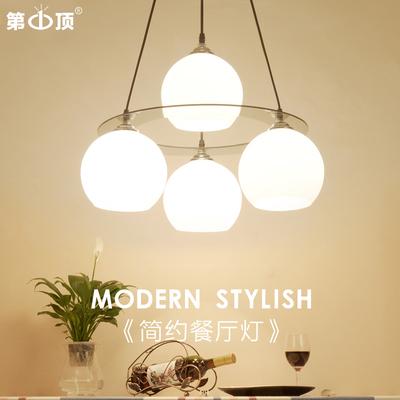餐厅灯简约现代创意吊灯led水晶灯三四头圆形饭厅客厅灯吧台灯具