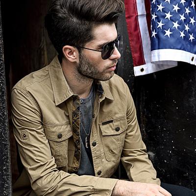 吉普战车秋季长袖衬衫男士工装外套春秋薄款休闲军装衬衣大码寸衫