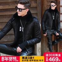 皮毛一体男外套冬季皮夹克加绒短款大码皮袄男修身韩版加厚皮衣男