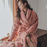 Autumn and winter coral velvet moon suit pregnant women maternal nursing robe feeding thick warm to go out night gown pajamas