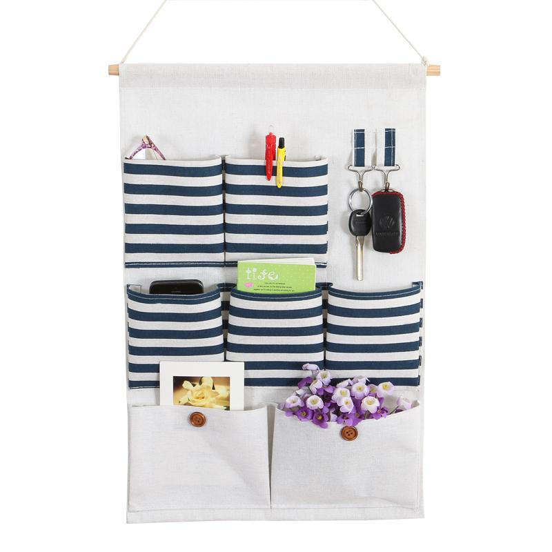 棉麻布艺挂袋壁挂式整理袋挂兜手机遥控器收纳挂袋墙上门后储物袋