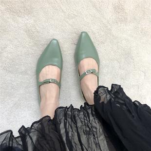 特~回饋價,推薦款早春萌萌綠色系帶皮帶扣軟底平底鞋低幫鞋女鞋