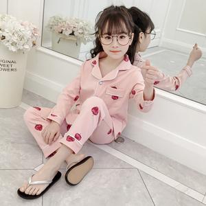 儿童睡衣长袖纯棉春秋小女孩公主套装宝宝女童薄款草莓家居服夏季