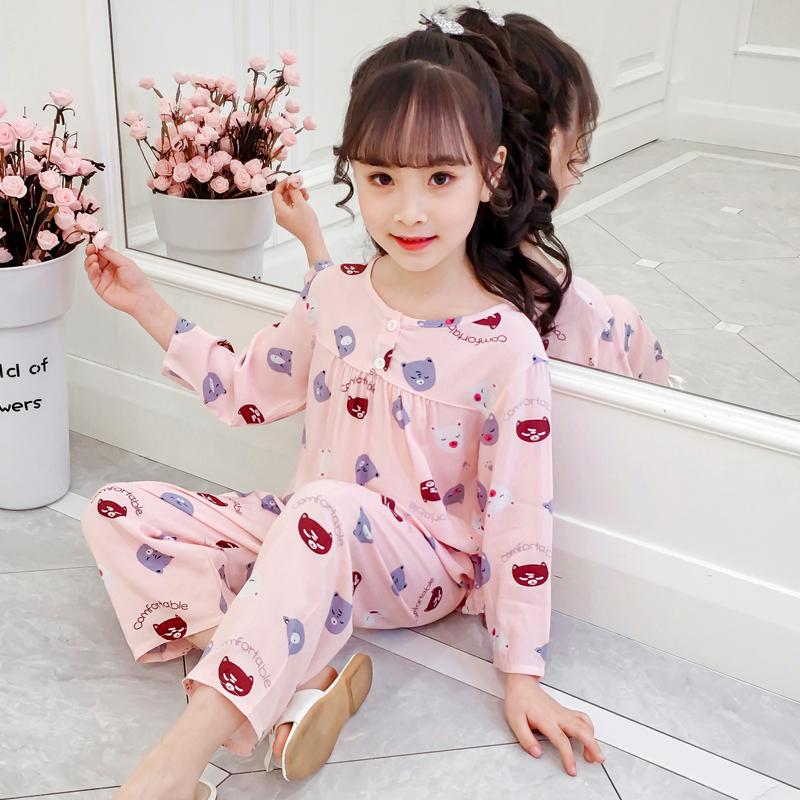 儿童睡衣套装夏季薄款女童绵绸棉绸长袖小孩中大童宝宝空调家居服