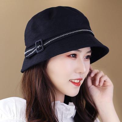 帽子女春夏款明线棉质布帽显脸小韩版时尚盆帽中青年渔夫帽画家帽