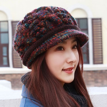 Hat Winter Plus Fleece Wool Cap Women Knitted Wool Cap Mother Cap Middle-aged and Old Winter Ear Protector Cap Cycling
