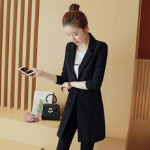 Small suit women's jacket Korean version of the medium and Long-style spring 2019 new long-sleeved women slender black small suit women