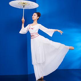 落花古典舞演出服女2019新款中国风清新淡雅仙女伞舞舞蹈服装成人