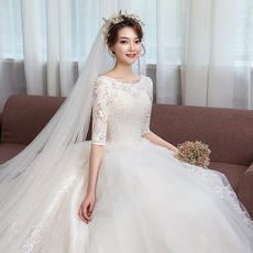 48033654ad4a8 Light wedding dress 2018 new Hepburn bride word shoulder long sleeve winter princess  dream tail slimming