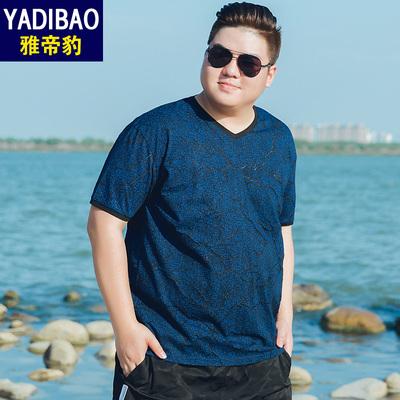 雅帝豹短袖t恤男夏季新款镂空胖子半袖体恤衫加肥加大男装T恤潮