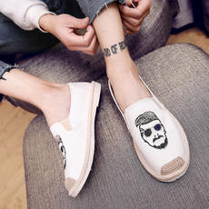 Autumn Korean version of the trend of wild boys peas board shoes men's casual pedals lazy old Beijing canvas shoes