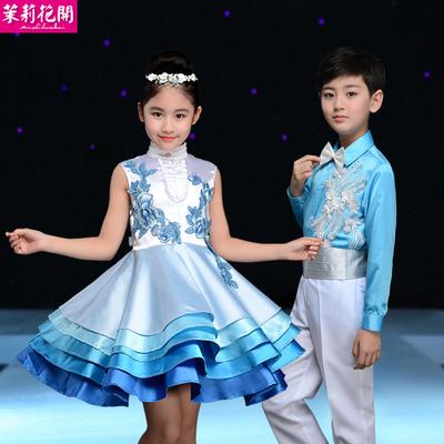新款六一儿童节演出服装女童蓬蓬裙男童合唱服幼儿园公主裙表演服