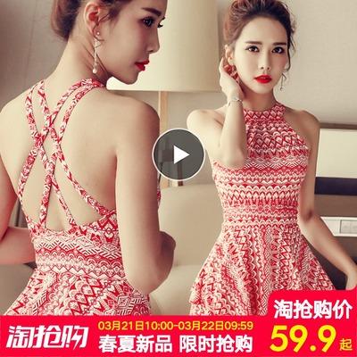 温泉泳衣女2018新款网红款 时尚性感保守遮肚显瘦大码连体游泳衣