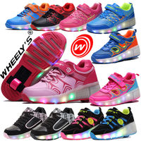 Pulley shoes hot wheels children's heelys boys and girls two-wheel stealth youth students automatic roller skates