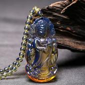 纯天然多米5A净水蓝珀吊坠毛衣链 原矿蜜蜡琥珀男士观音项链挂件