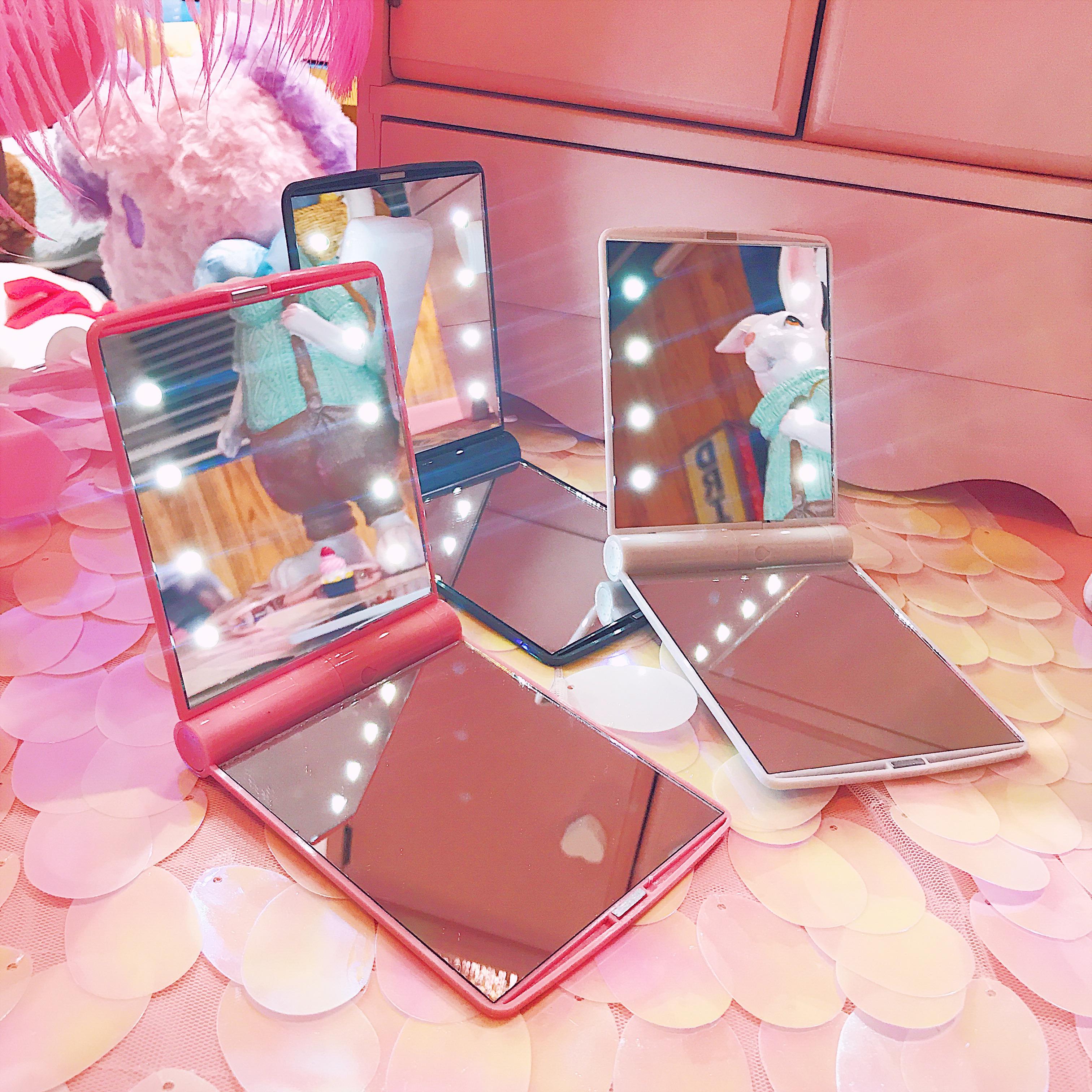 韩版迷你LED带灯化妆镜双面折叠可爱便携随身镜子少女补妆梳妆镜图片