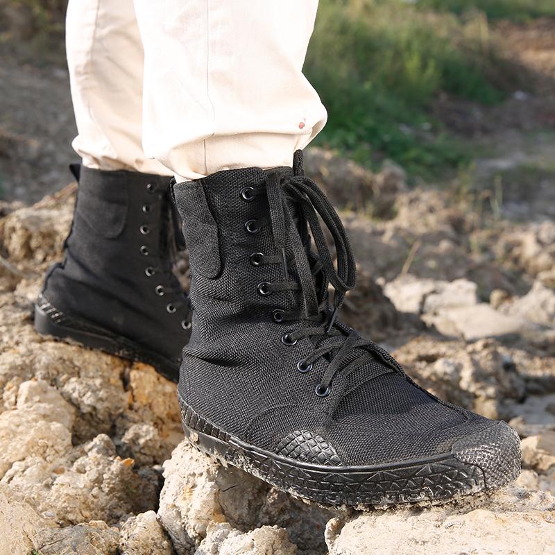 正品作训鞋黑色高帮解放鞋男军鞋高腰军鞋迷彩军胶鞋帆布鞋作战鞋