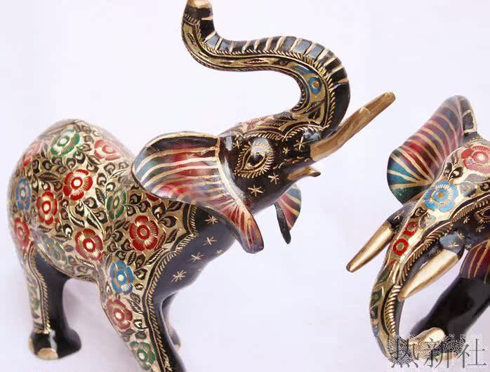 巴基斯坦铜器 14寸高级黑漆彩点大象 手工艺术造型摆设