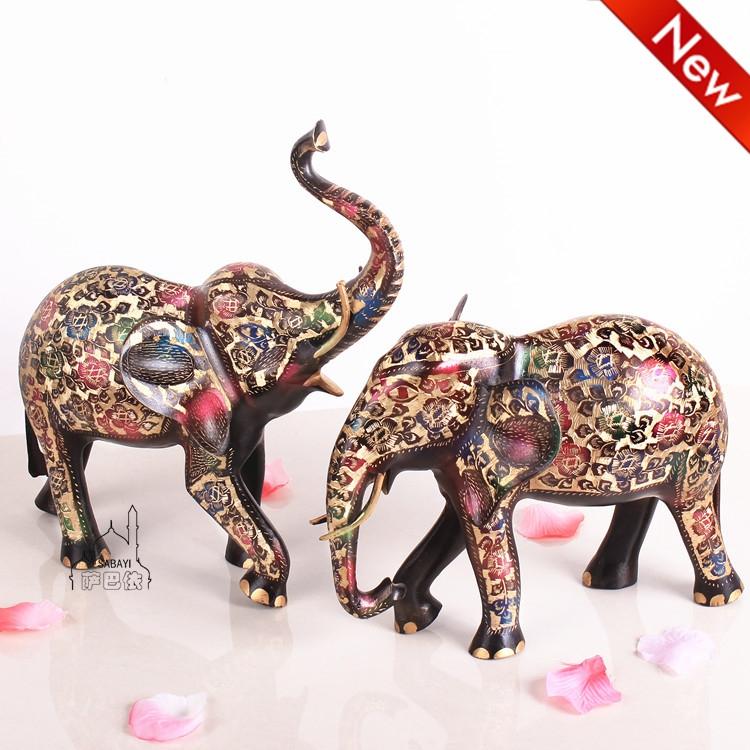 巴基斯坦铜器16寸黑漆彩情侣大象动物手工艺术婚房家居铜制摆设