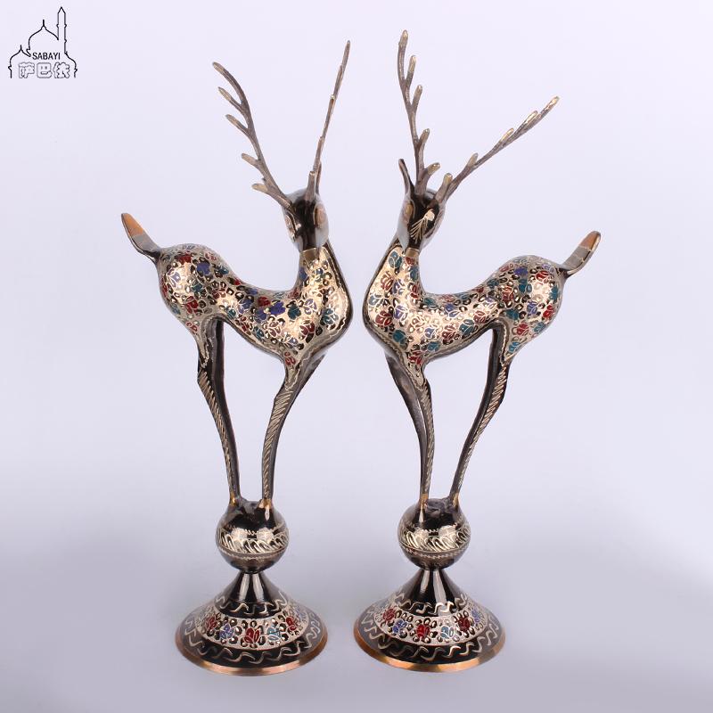 巴基斯坦动物铜器机亮对鹿18寸手工艺术铜制对鹿有你新婚房摆设