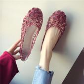 平跟女单鞋 子女黑色浅口透气软底大码 镂空平底鞋 欧美2018春夏新品