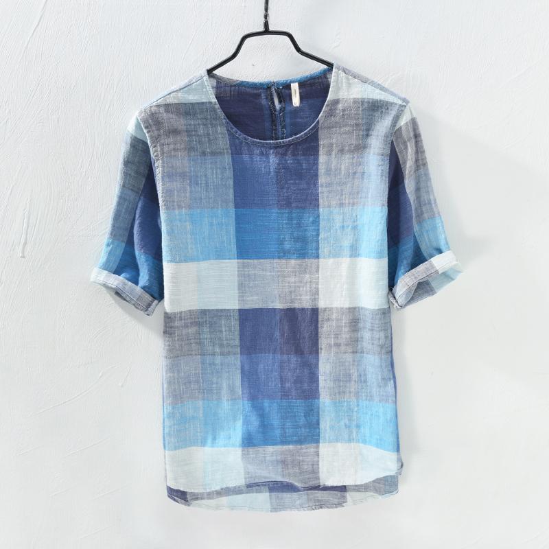 格子棉t恤