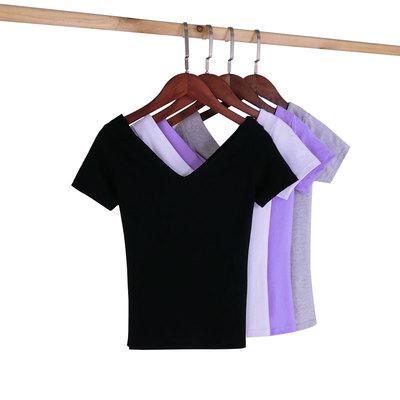 2018春夏前后双V领露肩短袖紧身t恤修身打底衫黑色显瘦上衣女