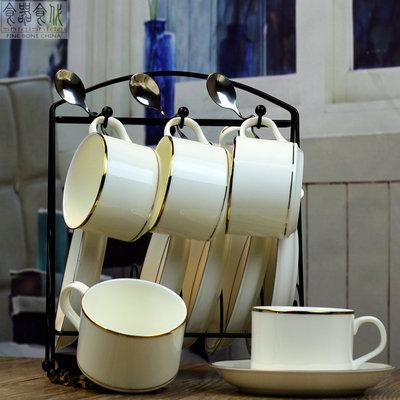 欧式金边咖啡杯骨瓷套装下午茶杯碟简约办公6件套咖啡具带架送勺