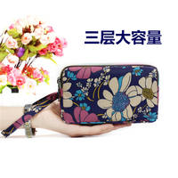 Coin purse female long fabric clutch bag three-layer zipper handbag ladies wallet large capacity large screen mobile phone bag