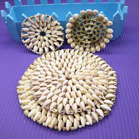 天然海螺贝壳餐桌垫隔热垫创意贝壳厨房碗垫盘垫家居杯垫圆形手工