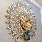 孔雀挂钟客厅欧式创意钟表家用大气静音时钟现代装饰挂表中国风