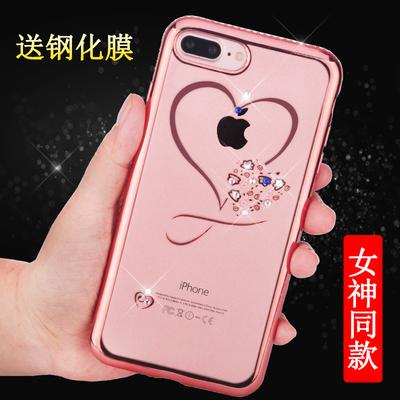 苹果6s手机壳透明硅胶iPhone7plus水钻软壳防摔软壳奢华女款8新款