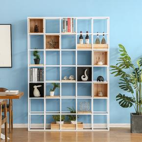 工业风铁艺实木置物架客厅屏风玄关隔断架loft办公室收纳架书架子