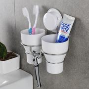 吸壁式牙刷置物架杯壁挂式牙刷杯架卫生间漱口杯套装免打孔牙具杯